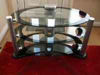 OVAL TV STAND – GLASS - 3 TIER