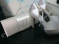 Ivory satin shoes & bag