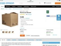 5 Clas Ohlson Removal/Storage Cardboard Boxes 3 Weeks Old, Used Once, As New