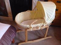 Babies R Us Moses Basket Crib With Rocking Stand, Mattress & 2 Sheets - VGC