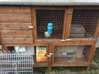 Large wooden handmade double storey RABBIT, GUINEA PIG HUTCH