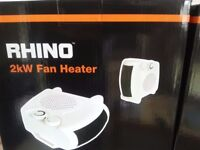 2 X Rhino 2KW Fan Heater Brand New in Box £15 each.