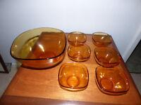 Large Bowl & 6 dessert bowls in Amber Glass
