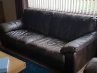 Leather sofas and storage foot stool