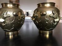 Antique Chinese brass vases. A pair