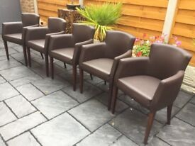 Set Of Five 'Brand New' Faux Leather Dining Chairs.