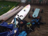 windsurf slalom board and land sail buggy set up all complete