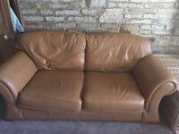 Genuine leather sofa large 2 seater sofa