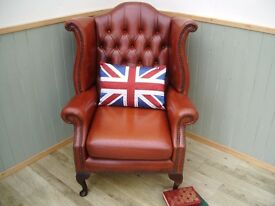 Stunning Leather Tan Chesterfield Queen Anne Chair