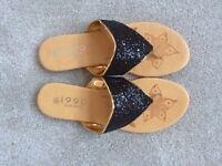 Brand New Black & Gold Flip Flops Size 5