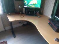 Office desk, large, ergonomic shaped, 1,800mm wide, light wood, v good condition