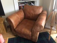 DFS Tan Leather Armchair