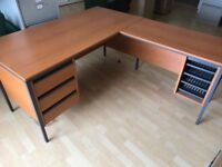 Office furniture desks, filing cabinets, reception couches and glass table