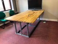 Industrial oak and steel desk for office