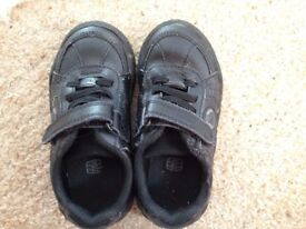 hardly worn clarks black school shoes, size 7.5 E