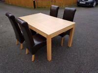 New Oak Dining Table by Bently Designs & 4 Dark Brown Leather Chairs FREE DELIVERY 481