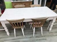 Pine Dining Table and 6 Chairs -painted white
