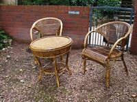 lovely sun room/conservatory set of two chairs and a table in split cane - immaculate