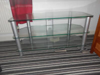 silver /glass tv stand