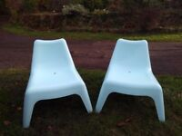 Ikea plastic outdoor chairs, Blue