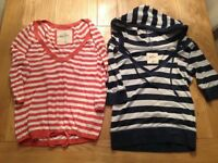 2 ladies Hollister stripey tops, size XS
