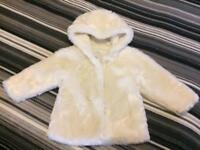 Marks and Spencer toddler / baby cream fake fur coat age 18-24 months