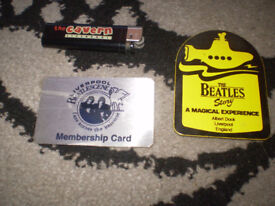 beatles lighter membership card & mug /coaster