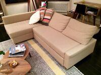 IKEA FRIHETEN beige sofa-bed with storage