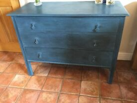 Vintage Four Draw Chest in Aubusson Blue