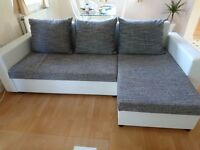 LEATHER + FABRIC CORNER SOFA BED £250 for sale!!!!!