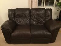 2 seater & 3 seater Brown Leather Sofas