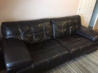 Dark brown sofa + chair + footstool. 3+1+footstool settee.
