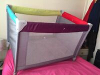 Mother care Colour Block Travel Cot Child/ Infant Portable Playpen in good condition