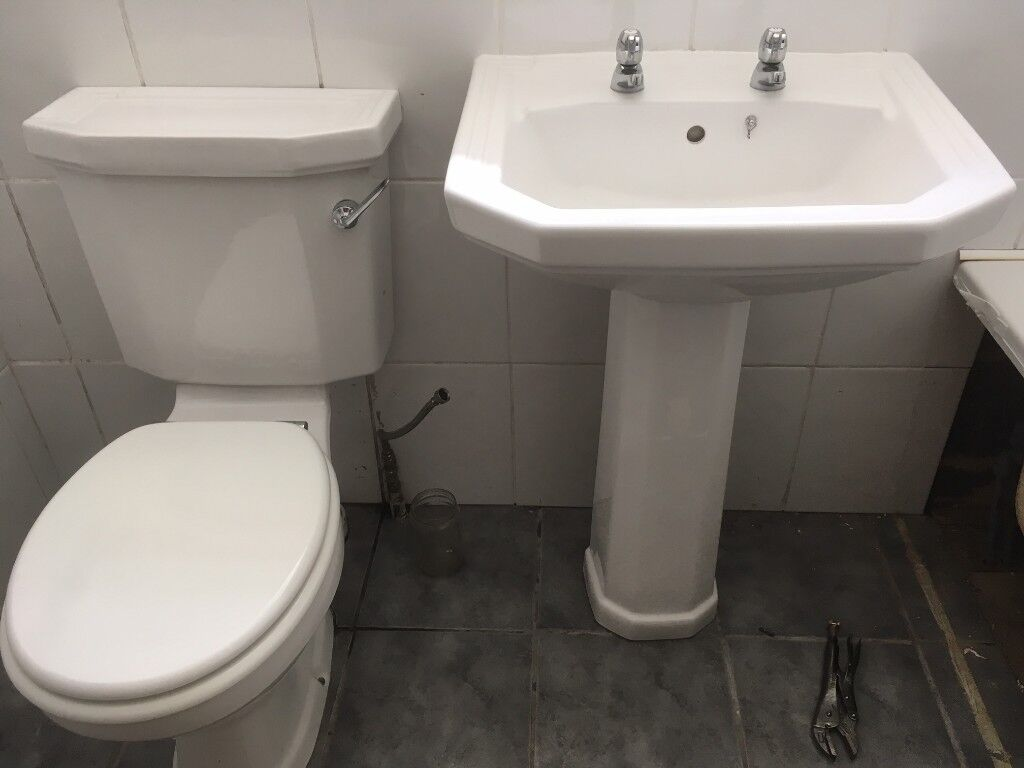 White art deco heritage style wc and basin including taps in