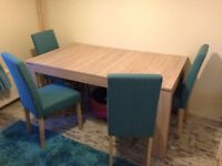 Dining table and 4 chairs extendable