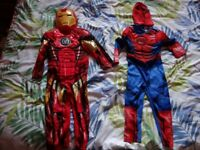 Two costumes, Spiderman and Ironman 3-4 years