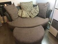 FREE!! DFS grey cuddle sofa and footstool FREE!!