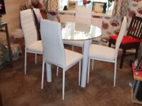 Glass Top Dining Table 4 Chairs