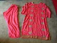 """1c34279367 Indian Pakistani ladies suit size 18 Chest size 46"""" Pink colour Cotton  material £8"""