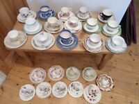 24 Vintage Trio Set Mixed China Wedding Afternoon Tea Party Job Lot Cups Saucers Tea Plates Cafe