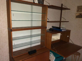Retro Display Cabinets & matching cupboards (Tapley 33 & SL '70s) original fittings, great condition