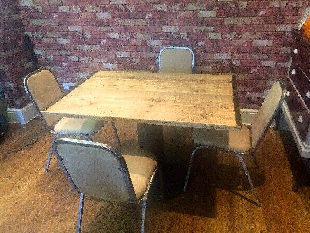 Rustic scaffold board table 4 chairs delivery available locally