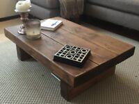 Chunky Rustic Reclaimed Style Coffee Table - Solid Wood, Medium Oak, Handmade in Norfolk