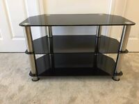 TV Stand - Black Glass and Chrome Legs