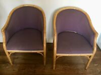 Two purple armchairs