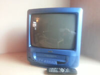 Small blue television TV and video player combi