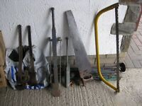 JOB LOT OF TOOLS -slate remover, hand saw, bow saw, etc.