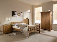 Contemporary waxed pine king size bed with thick memory foam mattress. Free delivery