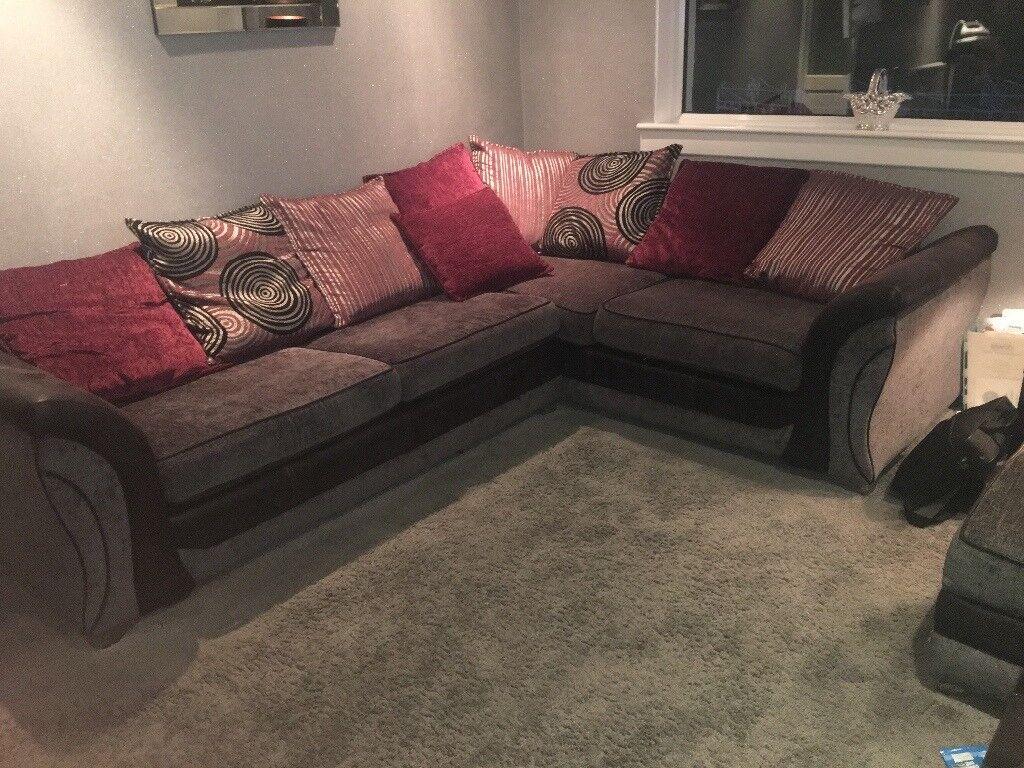 Corner sofa, cuddle chair & ottomon storage
