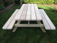 HAND MADE PRESSURE TREATED TANALISED 5FT PICNIC BENCH